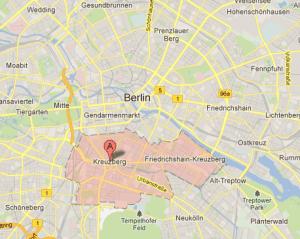 Kort over Kreuzberg, Berlin
