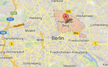 Berlin kort med prenzlauer berg
