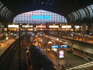 Vi skiftede til nattog i Hamburg på vej til Milano.