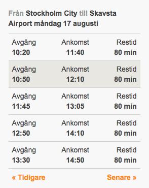 Stockholm til Skavsta lufthavn