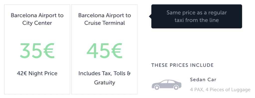 barcelona lufthavn taxa